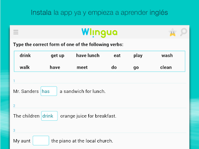 screenshot of Aprender inglés con Wlingua version 1.94