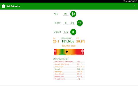screenshot of BMI Calculator version 1.35