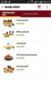 screenshot of McDelivery Singapore version 3.1.56 (SG58)