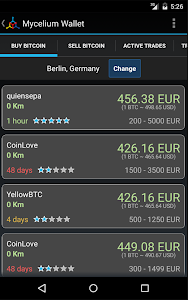 screenshot of Mycelium Bitcoin Wallet version 2.5.9