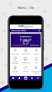 screenshot of SBI Anywhere Personal - Mobile Banking Application version 5.3.17