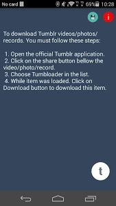 screenshot of Timbloader for Tumblr version 1.1.8.7